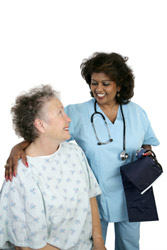 Freindly caring nuse with older patient